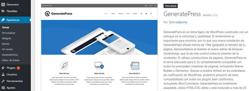 Generatepress y maquetadores visuales para wordpress
